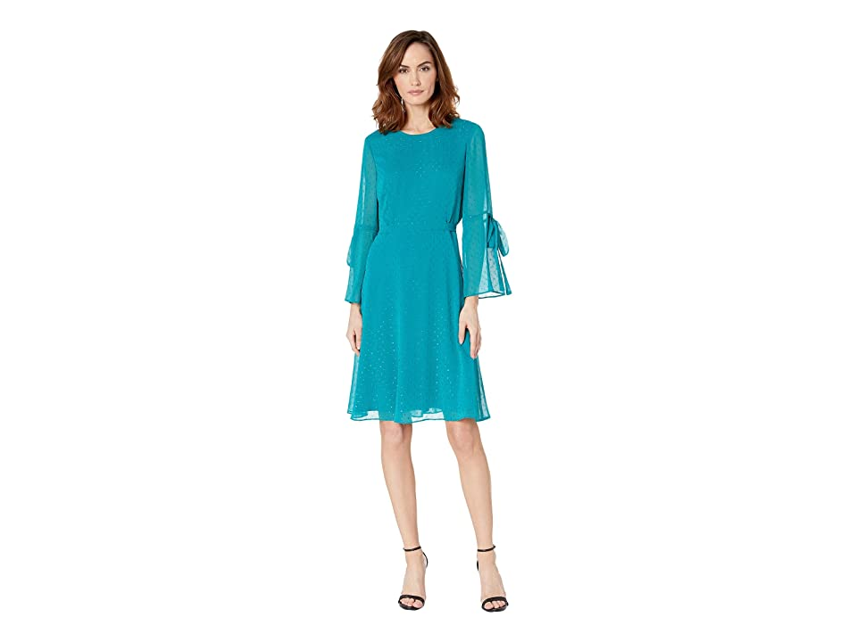 Nine West Metallic Clip Jacquard Long Sleeve Fit Flare Dress w/ Bow Detail at Sleeve (Peacock) Women