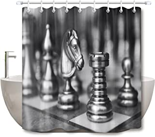LB Chess Piece Board Pattern Shower Curtain Set for Bathrooms, Chess Sports Themed Design Decor Curtain, 70x70 Shower Window Curtain Set Waterproof