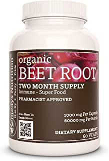 Beet Root Remedy's Nutrition MEGA Strength Vegan 1000 mg / 60000 mg per Bottle VCaps (Beta Vulgaris)(Check Supplement Facts Box for a List of Organic Ingredients)