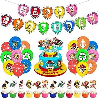 Babioms Paw Dog Patrol fête Anniversaire Ballons, Bannière de Joyeux Anniversaire Insert à Gâteau de Patrouille de Chien d...