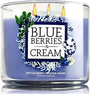 Bath and Body Works Blueberries and Cream Candle - Blueberry, Vanilla Cream, and Sugar Fragrance - Limited Edition Cafe Candle Collection with Decorative Lid