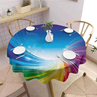 DILITECK Colorful Modern Round Tablecloth Funky Pop Art Stylized Radiant Lines Design in Wave-Like Color Reflections Image Daily use Diameter 36 inch Multicolor
