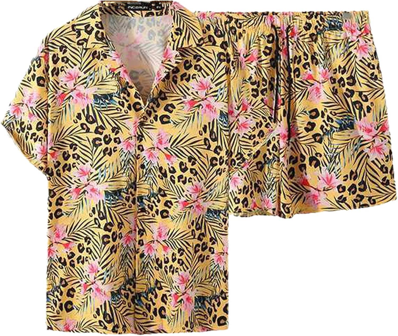 Summer Men Yellow Printed Sets Vacation Breathable Short Sleeve Hawaiian Shirt Beach Shorts Streetwear Casual Suits