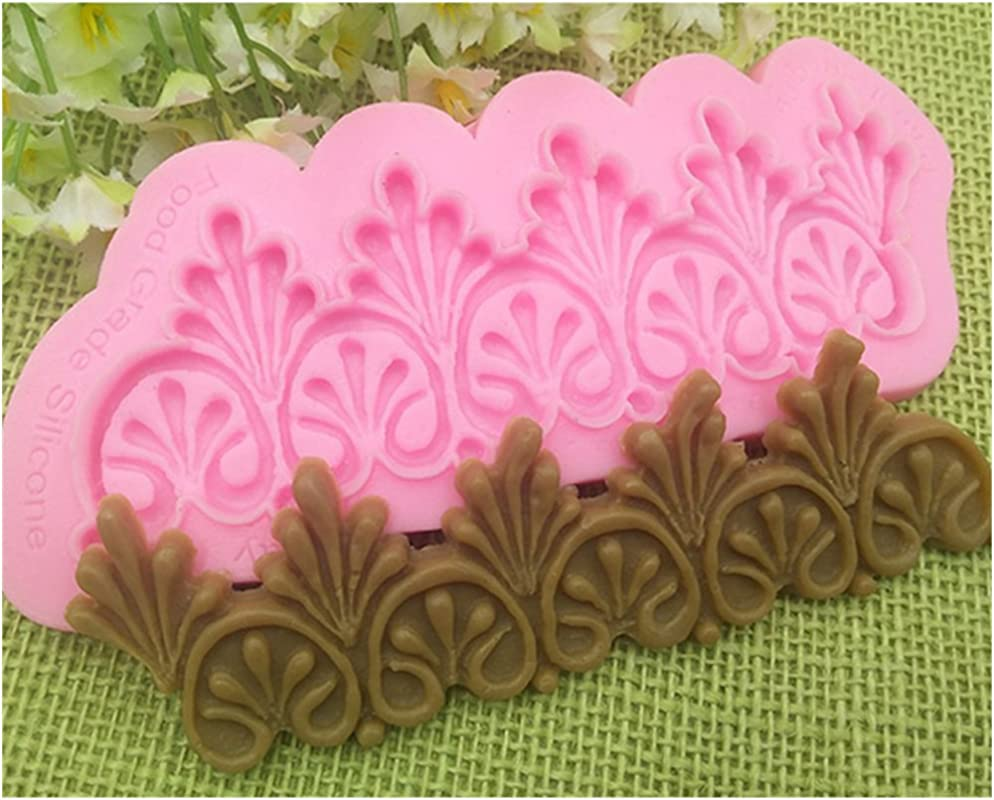 Youzpin European Style Relievo Cake Border Silicone Mold Candy Chocolate Fondant Wedding Cake Decorating Baking Mould Kitchen DIY Craft Baking Tool Random Color