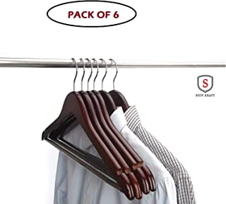 SHIV KRAFT Wooden Clothes Coat Suit Hanger with Non Slip Trouser Bar Chrome Hook for Home Hotel Use (6)
