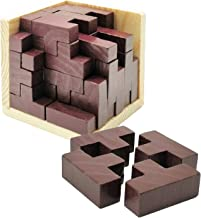Sopu Wooden Puzzles for Adult and Kids, 3D Brain Teaser Puzzles Educational Toy, Genius Skills Builder T-Shape Pieces with Tetris Fit for Explore Creativity and Build Your Brain