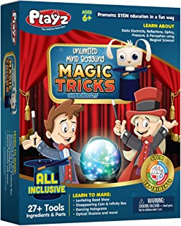 Playz Unlimited Magic Tricks Set for Kids with Science Experiments to Create Dancing Holograms, Levitating Bead Shows, Disappearing Coin & Infinity Box, & Optical Illusions for Boys & Girls Ages 6+