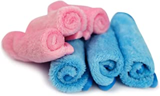 Nutricare Plus Makeup Remover Cloths, 6 Pack, 8 inch x 8 inch (Hand-Held Size) Deep Cleansing Facial Cloths, Reusable, Absorbent, Soft, Smooth Microfiber, 3 Pink, 3 Blue