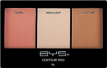 BYS Contour Trio - Lift, Contour, and Highlight Palette, 3-Color Shade Compact Makeup Set, Beauty Contouring Kit - Sweet