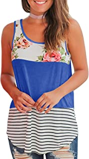 Imily Bela Womens Summer Sleeveless Floral T Shirts Color Block Blouses Tops