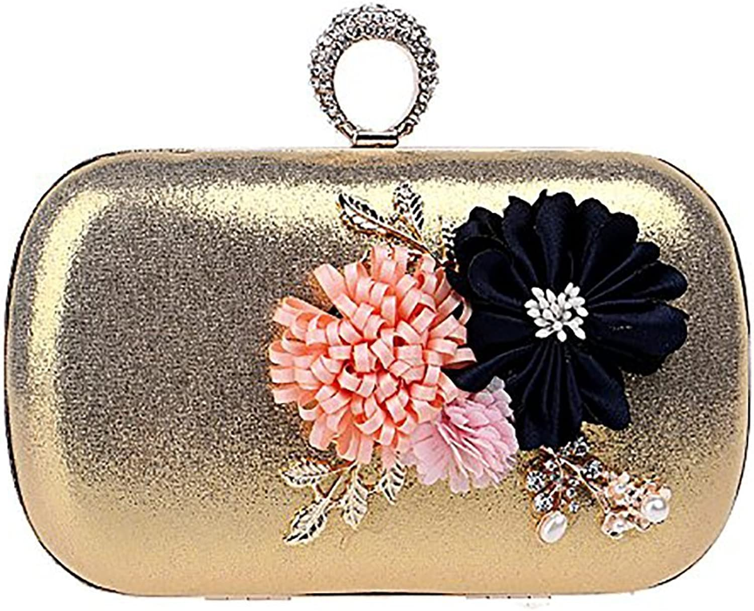 CIFFOST Women Flower Clutches Evening Bags Handbags Wedding Clutch Purse, Rhinestone Ring Handle Bag