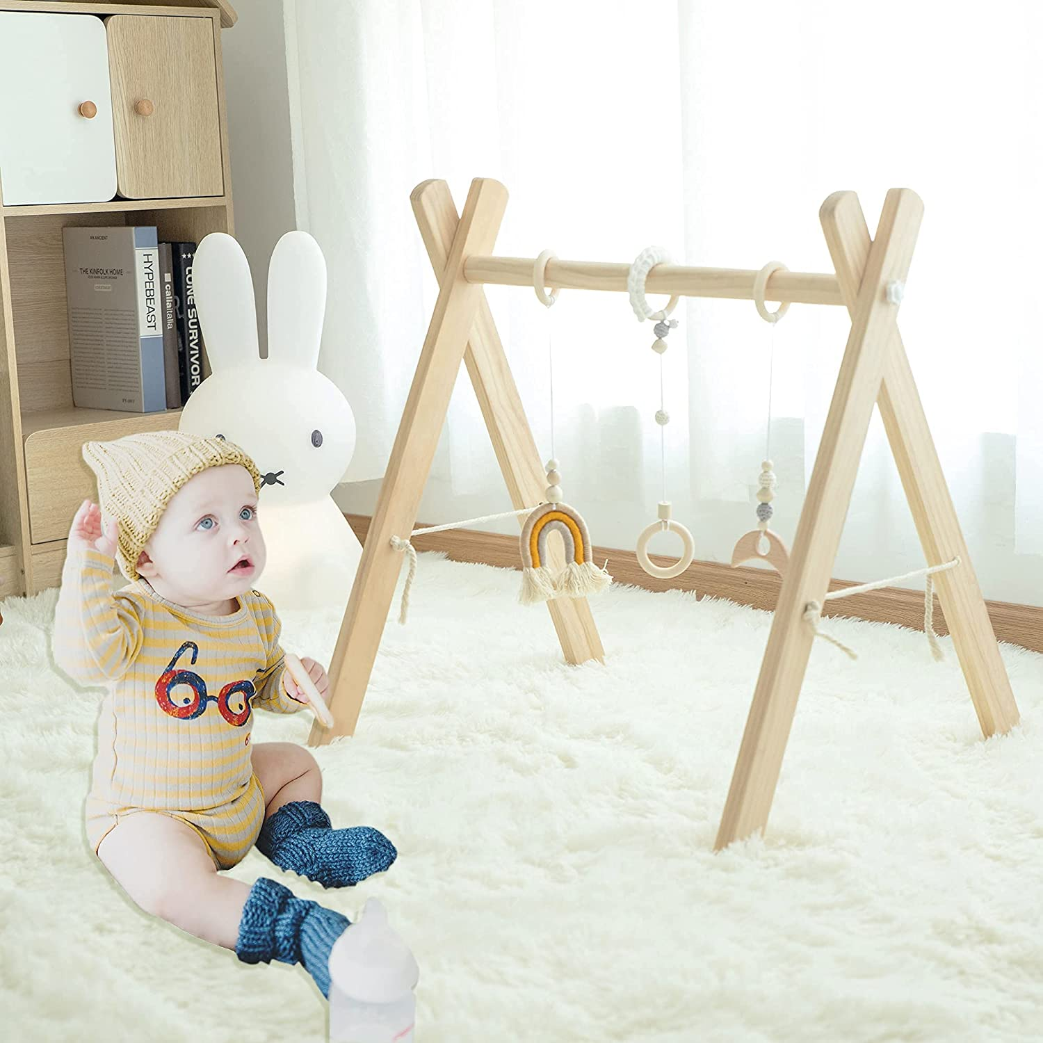 RONGFA Wooden Play Gym with Dedication 3 Mobiles Toys Activity Excellent Baby -