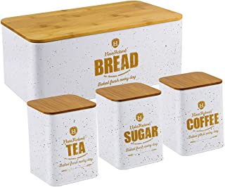 HausRoland Bread Box for Kitchen Counter Stainless Steel Bread Bin Storage Container For Loaves Pastries Dry Food (White, ...