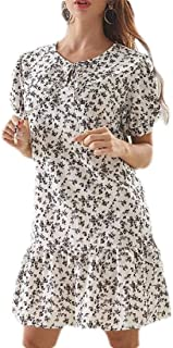 MU2M Womens A-Line Short Sleeve Summer Floral Print Chiffon Midi Dress