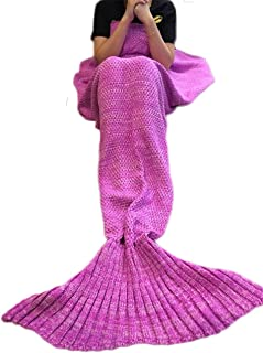 Feiuruhf Knitted Mermaid Tail Blanket for Adults Teens,...