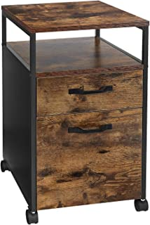 VASAGLE Rolling File Cabinet, Mobile Office Cabinet on Wheels, with 2 Drawers, Open Shelf, for A4, Letter Size, Hanging Fi...