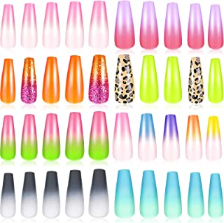 192 Pieces Extra Long Press on Nails Coffin Ballerina Nails Long Artificial Nail Tips Matte Coffin False Nails Gradient Color Fake Nails Full Cover Stick on Nails for Women and Girls