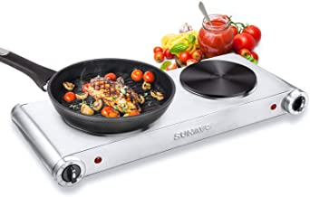 SUNAVO Hot Plates for Cooking Portable Electric Double Burner 1800W 5 Power Levels Cast-Iron Silver
