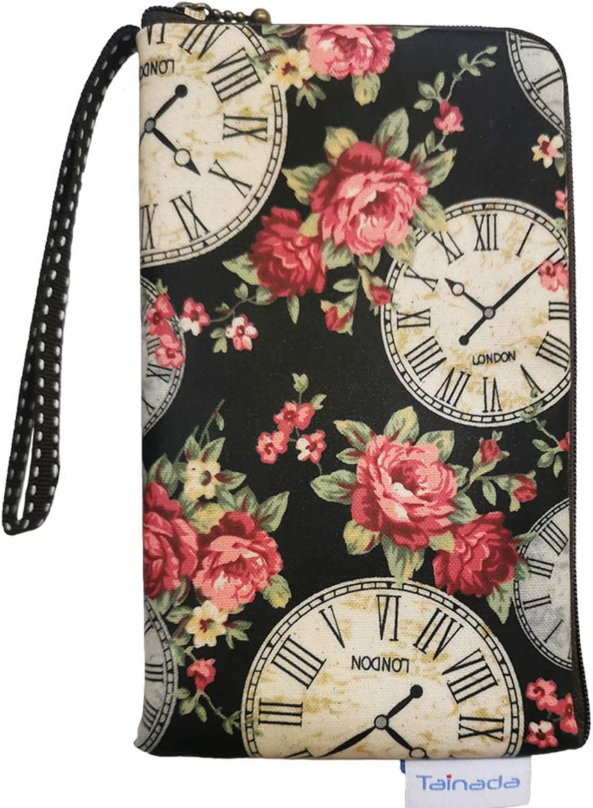 Women Universal Phone Wristlet Wallet Pouch, Tainada Dual Slots Zipper Purse Carry Case Bag for iPhone 11, 12, 12 Pro, 12 Pro Max, XR, Samsung S20 FE, A52, S20, Note10, A41, A51 LG K31, V50 (Clock)