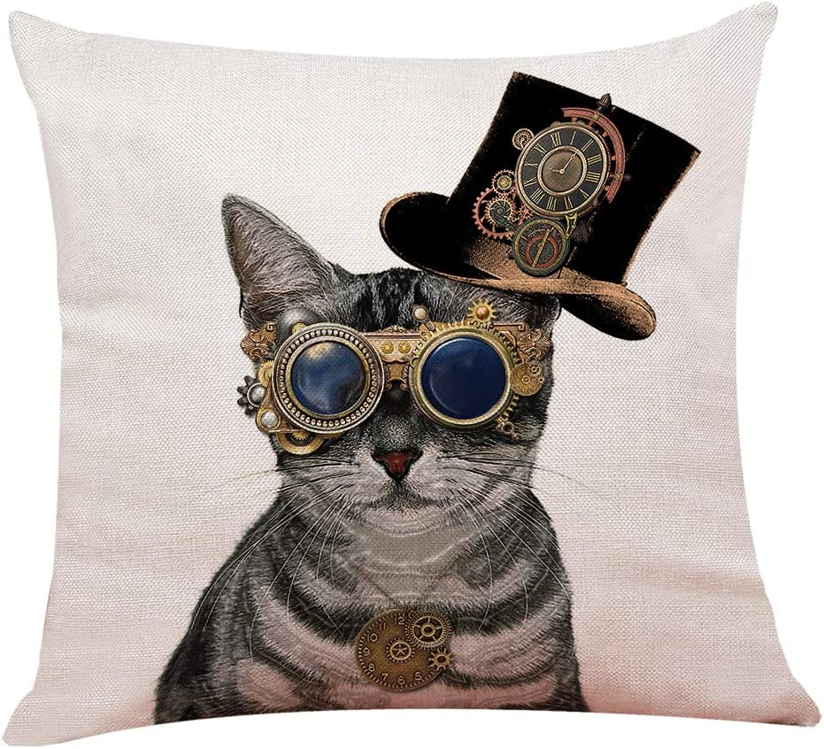 Yuzi N Steampunk Cat Throw Pillow Covers Cushion Cover For Sofa Couch Decor Home Decor 18 X 18 Inch Funny Cat Decor Home Kitchen