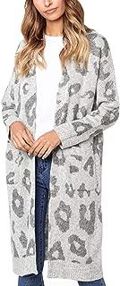Women's Long Sleeves Leopard Print Knitting Cardigan Open...