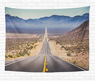 Assp Tapestry Classic Panorama View of Endless Straight Road Running Through 50x60 Inches Home Decorative Wall Hanging Tapestries for Living Room Bedroom Dorm