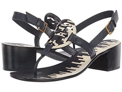Tory Burch 45 mm Miller Ankle Strap Sandal (Navy/Ivory Stacked Cuoio/Royal Navy) Women