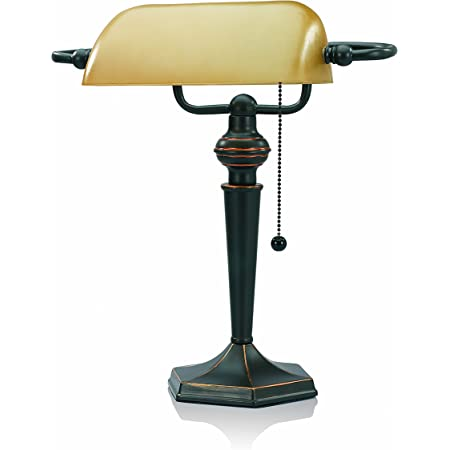 Amazon Com V Light Traditional Style Cfl Banker S Desk Lamp With Amber Glass Shade Cavs91045brz Office Products