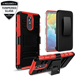 LG Stylo 4 Case, LG Stylo 4 Plus Phone Case, LG Q Stylus Case, LG Stylus 4 Case w/Tempered Glass Screen Protector,Heavy Duty Shockproof Protective Cover w/Belt Clip Kickstand for Men/Women,Red