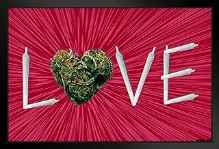 Pyramid America Steez Weed Love Joint Letters Pot Marijuana Cannabis Reefer Dope Grass Ganja 420 Black Wood Framed Art Poster 20x14