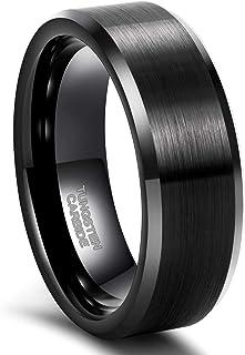 Frank S.Burton Tungsten Ring for Men Women 3mm 4mm 6mm 8mm Engraved I Love You Beveled Edge Matte Silver Wedding Band Comf...