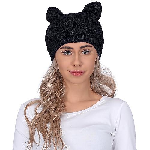 75e3de9bbd8 HDE Women s Knit Beanie Cat Ear Crochet Braided Winter Ski Hat Knitted Cap