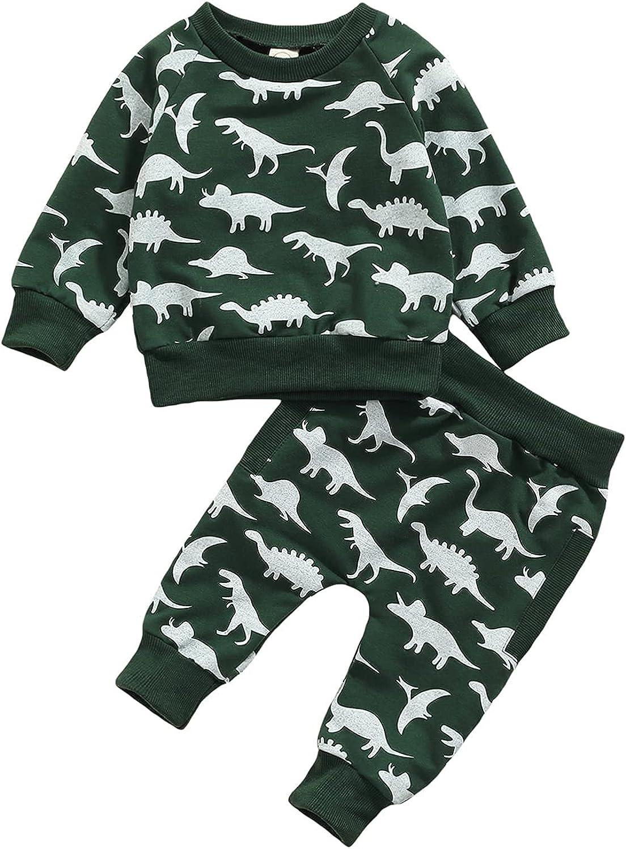 Fall Winter Baby Boy Dinosaur Clothes Long Sleeve Outfit Toddler Sweatshirt Tops Pants Tracksuit 2PCS Set