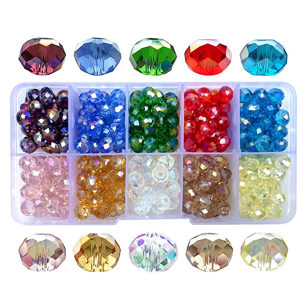 Chengmu 8mm Briolette Glass Beads for Jewelry Making AB Colour 300pcs Faceted Rondelle Shape Translucent Crystal Spacer Beads Assortments Supplies for Bracelet Necklace with Elastic Cord Storage Box