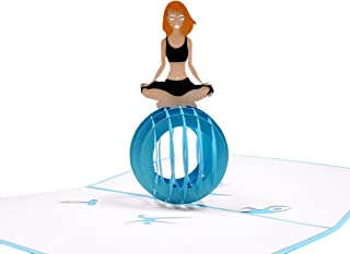 iGifts And Cards Cute Yoga Lady 3D Pop Up Greeting Card - Fitness, Balance, Healthy, Meditation, Ball, Half-Fold, Happy Birthday, Just Because, Friendship, All Occasion, Thank You, Congratulations fun