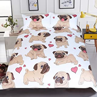 Sleepwish Pug Duvet Cover Cartoon Cute Pug Love Hearts Bedding 3D Boys Girls Pretty Duvet Cover (Twin)
