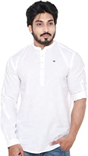 Twist Men's Linen Chinese Collar Short Kurta Shirt