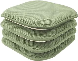 GoodGram 4 Pack Non Slip Ultra Soft Chenille Honeycomb Premium Comfort Memory Foam Chair Pads/Cushions - Assorted Colors (Sage)