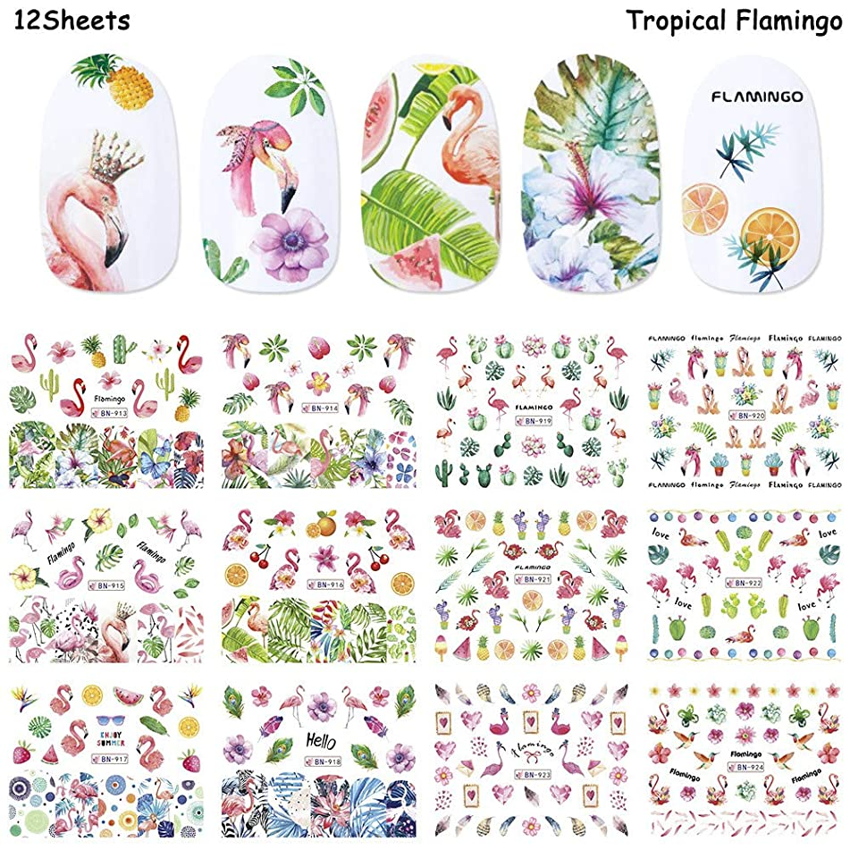 Nail Decals for Women Nail Art Accessories Stickers Colorful Flamingos Flowers Fruit World Summer Animal Environmental Protection Nail Water Tattoo Stickers for Fingernails & Toenails Decor by Hary