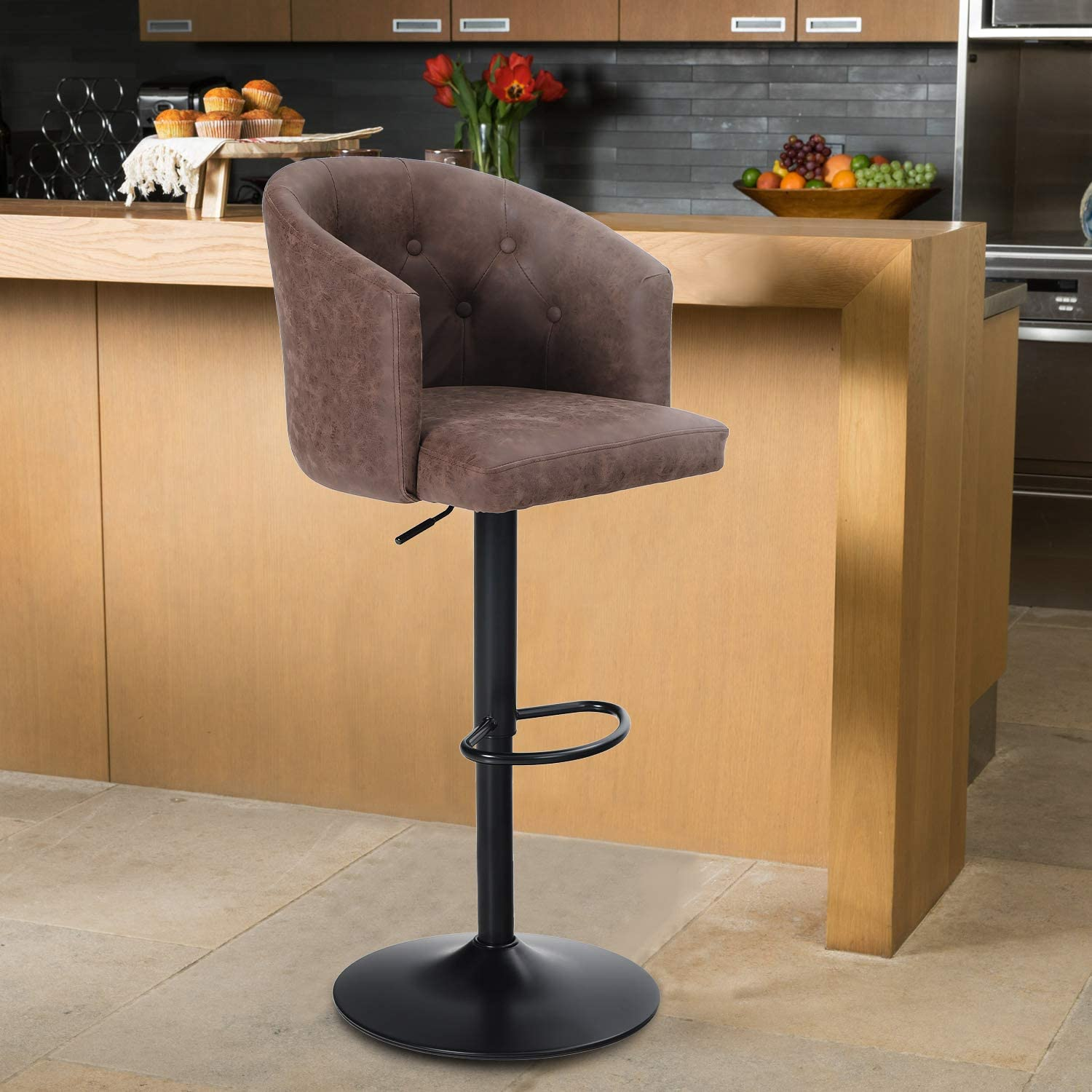 Maison Swivel Bar Stool with Back for Kitchen Counter Height Adjustable  Counter Height Barstool Chair with Ergonomic Mid Back for Kitchen Island,  ...