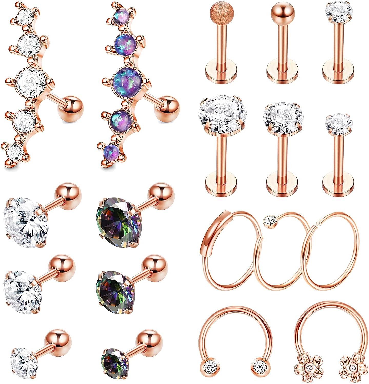 JOERICA 16G Cartilage Earring Hoop Stud for Women Forward Helix Rook Daith Conch Tragus Ear Piercing Jewelry