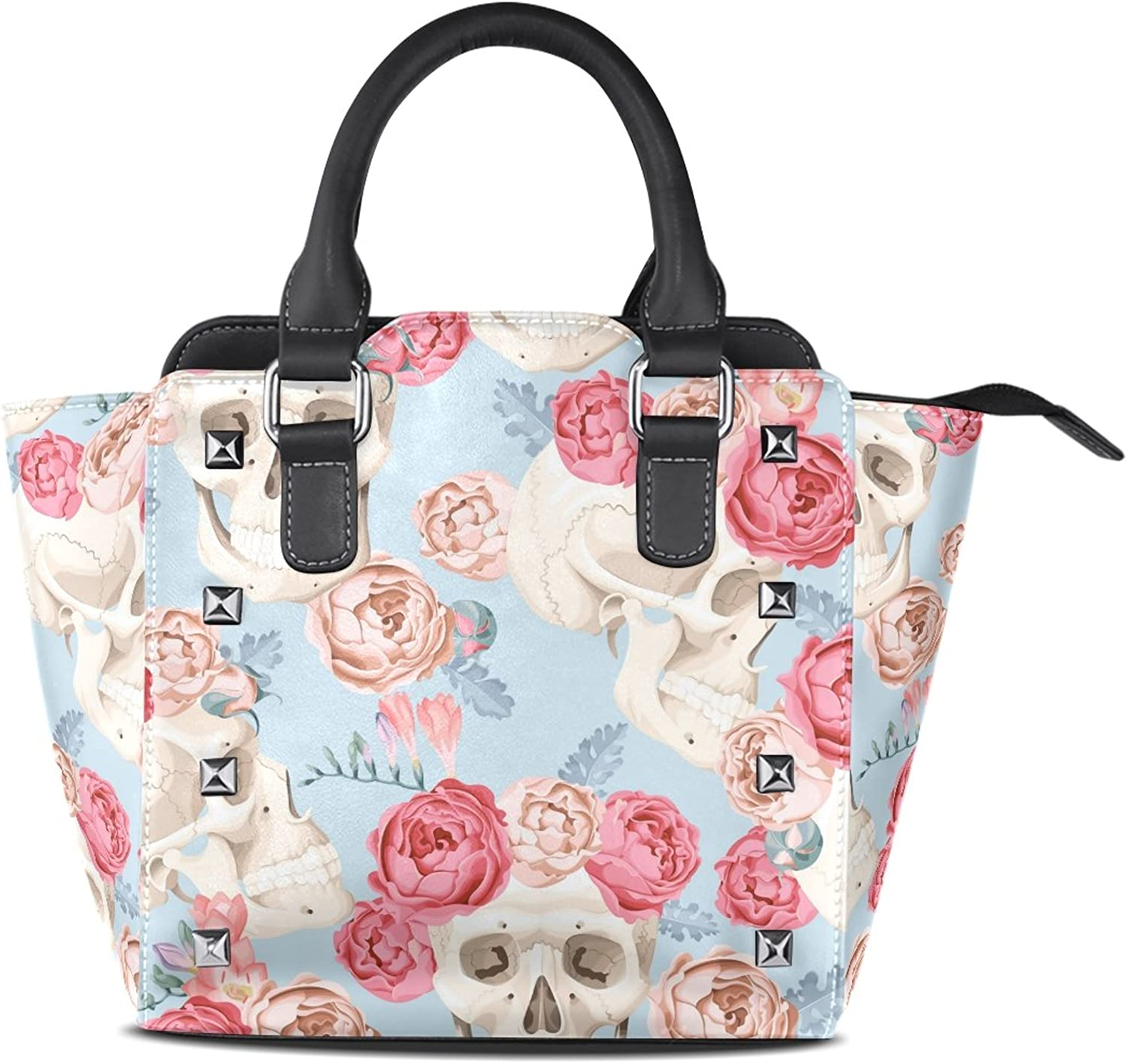 Sunlome Skulls and pinks Print Women's Leather Tote Shoulder Bags Handbags
