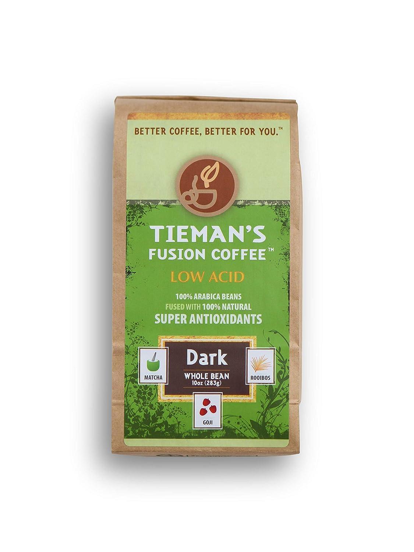 Tieman's Fusion Coffee Low Acid San Antonio Mall Dark Whole Bean Roast 67% OFF of fixed price ounc 10