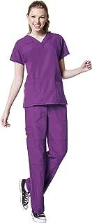 WonderWink Four-Stretch Women's Scrub Set Bundle- 6214 V-Neck Top & 5214 Cargo Pant & Marc Stevens Badge Reel