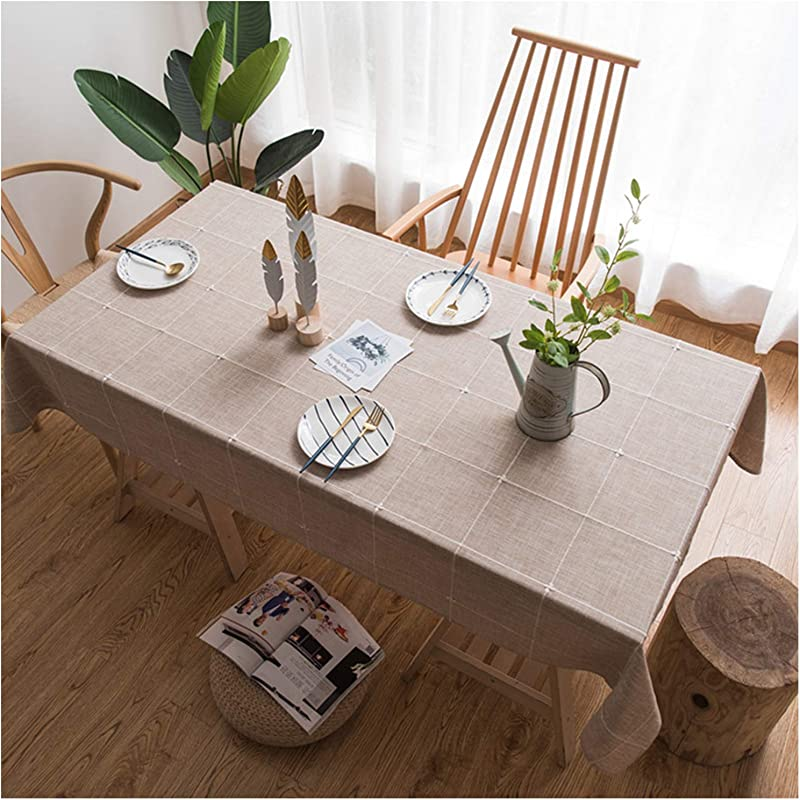 Jiuhong Solid Embroidery Lattice Tablecloth Cotton Linen Dust Proof Table Cover For Kitchen Dinning Tabletop Decoration Khaki Rectangle Oblong 52 X 86 Inch