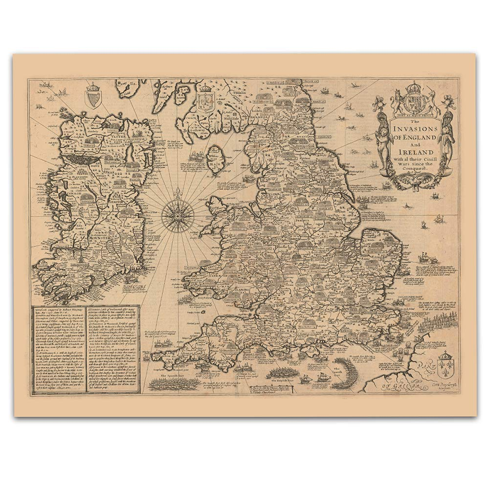 Ireland and England Vintage Map Circa Unframed 1676-11 x Prin Super beauty product restock SALENEW very popular! quality top 14
