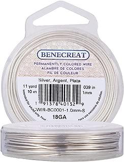 BENECREAT 18-Gauge Tarnish Resistant Silver Coil Wire, 33-Feet/11-Yard