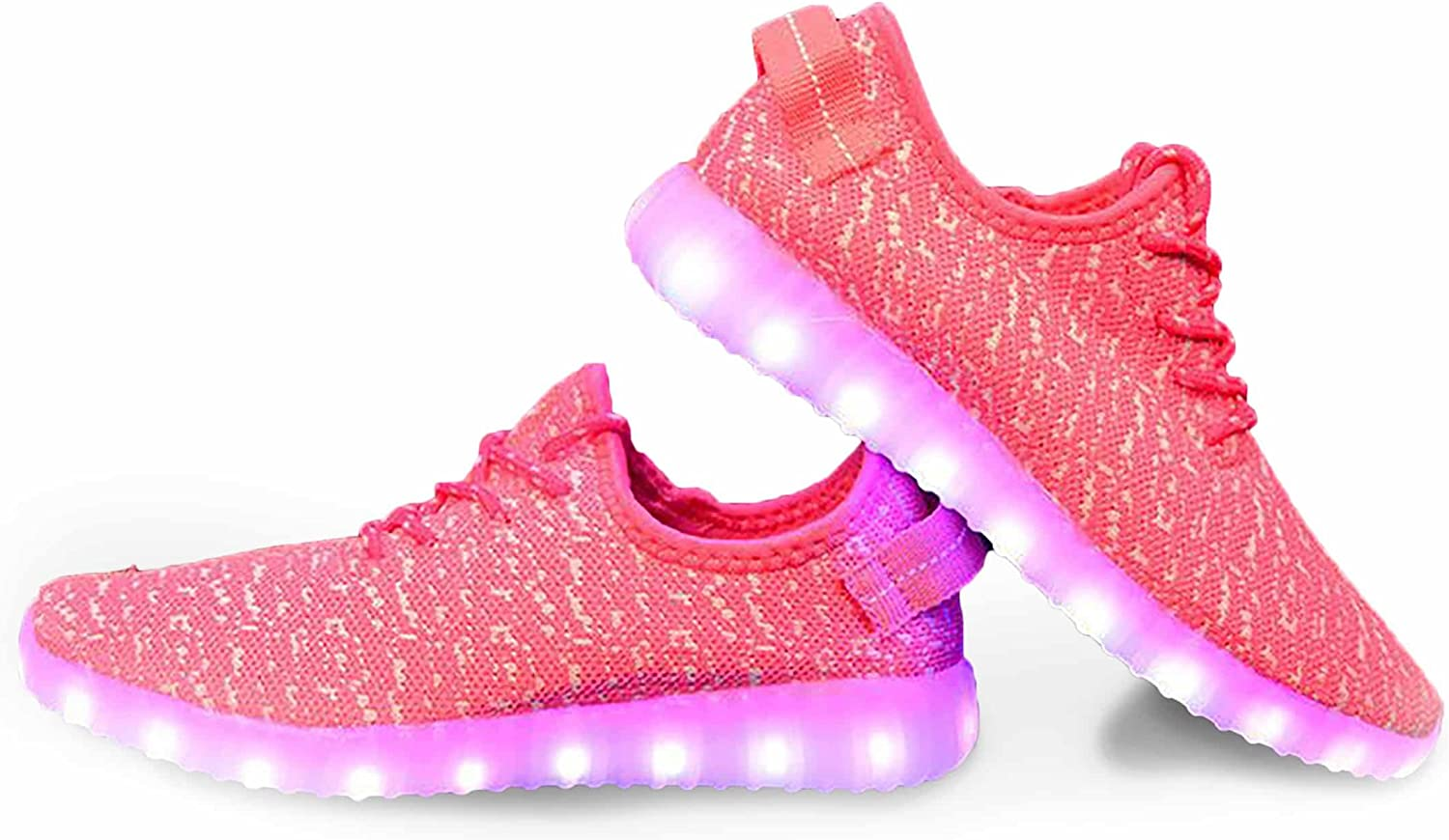FLASHY'S Women Knit LED shoes,USB Charging Flashing Snickers,Light up and Glow in The Dark
