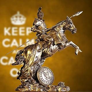 馬との戦いに行くローマの戦士、鎧像モデルの中世の騎士、ブロンズ仕上げ収集可能な置物レトロルネサンス装飾B 28x28x10cm(11x11x4inch)