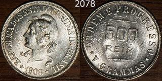 1908 - 1908 Brazil 500 Reis KM#506 10 centavos Seller AU Uncirculated